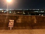 38 blm sign on bridge