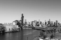 29 chicago river black & white