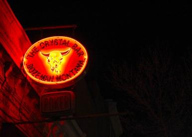 43 bozeman montana crystal bar at night