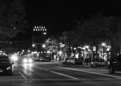 44 bozeman montana at night black & white