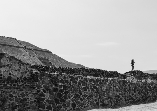 12 teotihuacan guard on phone pyramid of the sun b&w