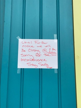quarantine week 1 - 2 treme coffeehouse shutdown sign