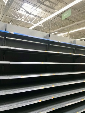 quarantine week 1 - 30 empty walmart bread shelf