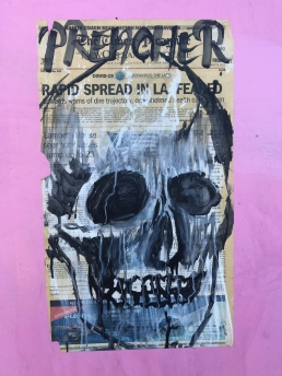 24 preacher art newspaper skull