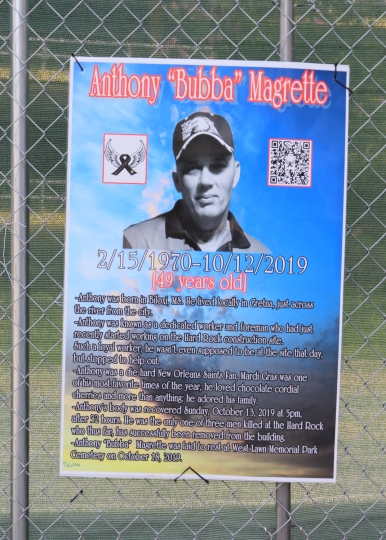 38 anthony bubba magrette hard rock memorial sign